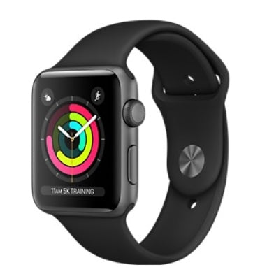 APPLE WATCH 3 38mm SPACE GRAY ALUMINUM CASE GRAY SPORT BAND