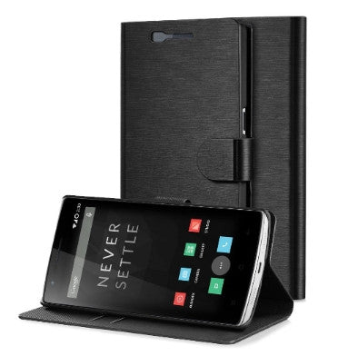 ONEPLUS ONE SLIM WALLET FLIP/STAND CASE BLACK & SCREEN PROTECTOR | GREATSHIELD