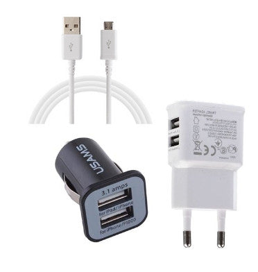 POWERPACK | DUAL USB CAR CHARGER, DUAL USB WALL CHARGER & 2M USB CHARGER CABLE