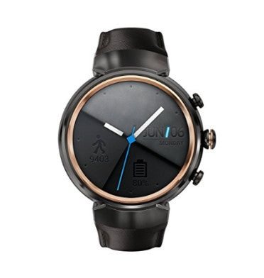 "ASUS ZENWATCH 3 1.39"" GUNMETAL / DARK BROWN LEATHER BAND"