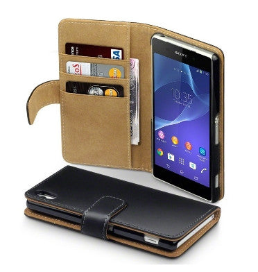 SONY XPERIA Z2 PREMIUM WALLET CASE BLACK WITH TAN INTERIOR | TERAPIN