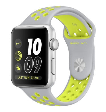 APPLE WATCH SERIES 2 NIKE+ 42mm SILVER ALUMINUM CASE SILVER/VOLT NIKE SPORT BAND