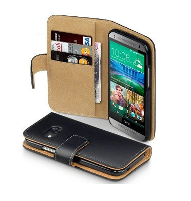 HTC ONE M8 MINI PREMIUM WALLET CASE BLACK WITH TAN INTERIOR | TERRAPIN