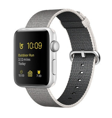 APPLE WATCH SERIES 2 42mm SILVER ALUMINUM CASE PEARL WOVEN NYLON BAND