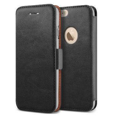 IPHONE 6 PLUS PREMIUM VINTAGE LEATHER WALLET FLIP CASE BLACK | VERUS