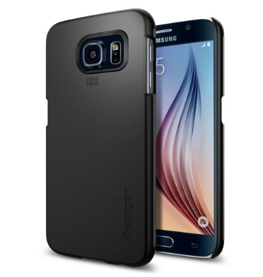 SAMSUNG GALAXY S6 EDGE PREMIUM SLIM THIN FIT CASE BLACK | SPIGEN