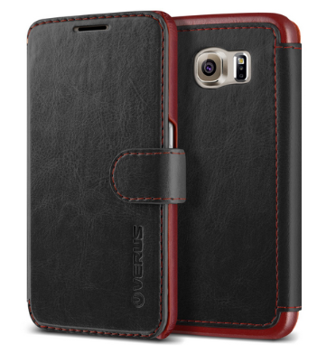 SAMSUNG GALAXY S6 PREMIUM LEATHER WALLET CASE BLACK | VERUS