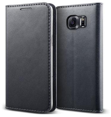 SAMSUNG GALAXY S6 EDGE PREMIUM SLIM SOFT LEATHER WALLET FLIP CASE WARM GRAY | VERUS