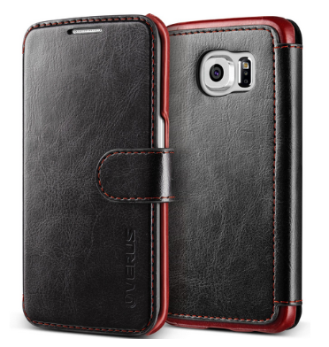 SAMSUNG GALAXY S6 EDGE PREMIUM LEATHER WALLET CASE BLACK | VERUS