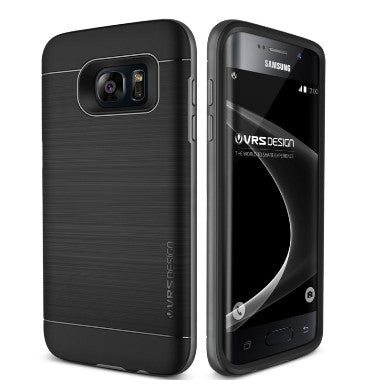 SAMSUNG GALAXY S7 EDGE PREMIUM SLIM FIT HEAVY DUTY PRO SHIELD CASE SILVER / BLACK | VERUS