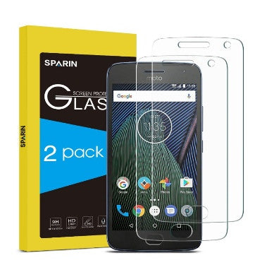 MOTO G PLUS 5TH GEN PREMIUM TEMPERED GLASS SCREEN PROTECTOR 9H 2PK | SPARIN