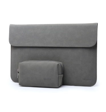 "HYZUO 13"" LAPTOP PROTECTIVE SLEEVE CASE WITH CARRY BAG SUEDE MATTE GRAY"