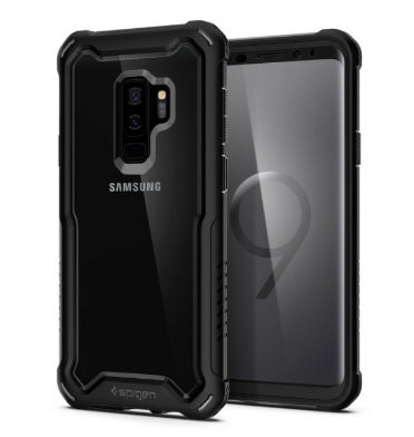 SAMSUNG GALAXY S9+ PREMIUM HYBRID ARMOR 360 CASE WITH TEMPERED GLASS PROTECTOR BLACK | SPIGEN