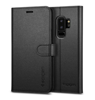SAMSUNG GALAXY S9+ PREMIUM WALLET FLIP COVER CASE BLACK | SPIGEN