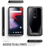 ONEPLUS 6 PREMIUM FULL BODY RUGGED GUARDIAN 360 CASE BLACK WITH TEMPERED GLASS | POETIC