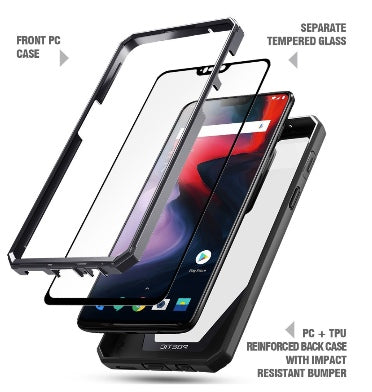 pretty nice 8e7c4 4831c ONEPLUS 6 PREMIUM FULL BODY RUGGED GUARDIAN 360 CASE BLACK WITH TEMPERED  GLASS | POETIC