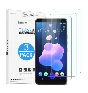 HTC U12+ PREMIUM TEMPERED GLASS SCREEN PROTECTOR 9H 3PK | OMOTION