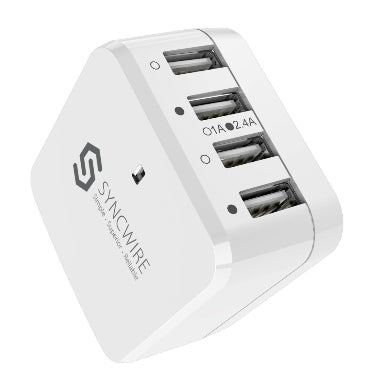 USB WALL CHARGER 34W 4-PORT WHITE | SYNCWIRE