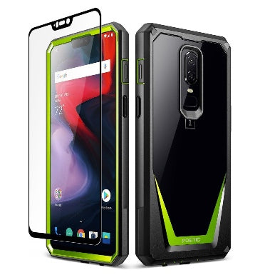 ONEPLUS 6 PREMIUM FULL BODY RUGGED GUARDIAN 360 CASE GREEN/BLACK WITH TEMPERED GLASS | POETIC