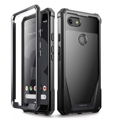 GOOGLE PIXEL 3 PREMIUM FULL BODY RUGGED GUARDIAN CASE BLACK WITH BUILT-IN SCREEN PROTECTOR | POETIC