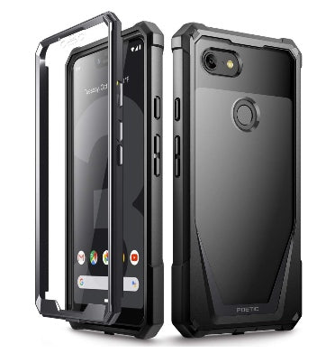 GOOGLE PIXEL 3 XL PREMIUM FULL BODY RUGGED GUARDIAN CASE BLACK WITH BUILT-IN SCREEN PROTECTOR | POETIC