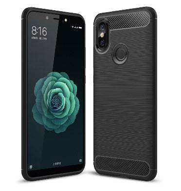XIAOMI MI A2 LITE ULTRA SLIM TPU CASE CARBON BLACK WITH TEMPERED GLASS SCREEN PROTECTOR
