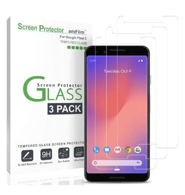 GOOGLE PIXEL 3 TEMPERED GLASS SCREEN PROTECTOR 9H 3PK | AMFILM