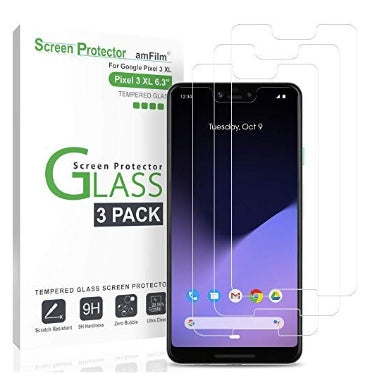 GOOGLE PIXEL 3 XL TEMPERED GLASS SCREEN PROTECTOR 9H 3PK | AMFILM
