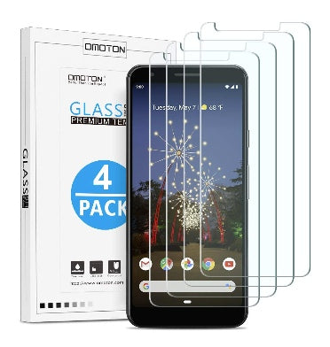 GOOGLE PIXEL 3A XL PREMIUM TEMPERED GLASS SCREEN PROTECTOR 9H 4PK | OMOTION