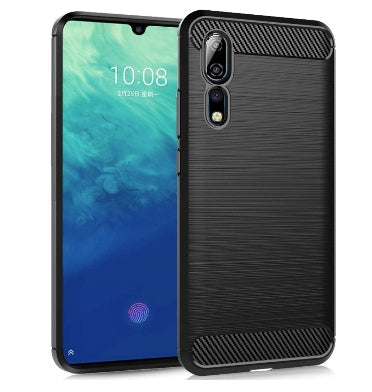ZTE AXON 10 PRO ULTRA SLIM BRUSHED CARBON FIBRE DESIGN TPU CASE BLACK