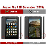 "AMAZON FIRE 7"" TABLET (2019) SLIM TRI-FOLD STAND FOLIO CASE BLACK 