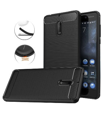 NOKIA 6 ULTRA SLIM BRUSHED CARBON FIBRE DESIGN TPU CASE BLACK