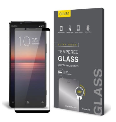SONY XPERIA 1ii (2020) PREMIUM TEMPERED GLASS SCREEN PROTECTOR BLACK | OLIXAR