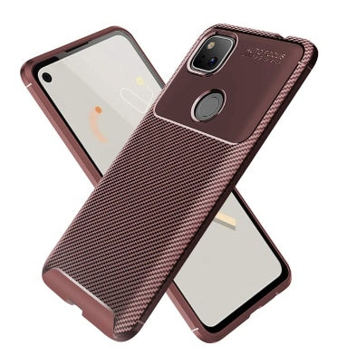 GOOGLE PIXEL 4A FLEXIBLE SOFT CARBON FIBRE CASE BROWN | PULEN