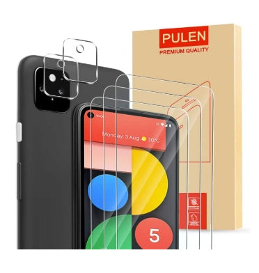 GOOGLE PIXEL 5 PREMIUM TEMPERED GLASS SCREEN AND CAMERA LENS PROTECTOR 9H 5PK | PULEN