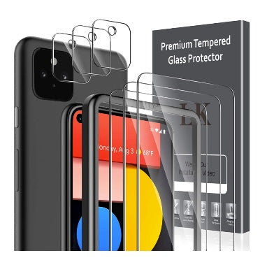 GOOGLE PIXEL 5 PREMIUM TEMPERED GLASS SCREEN AND CAMERA LENS PROTECTOR 9H 6PK | LK