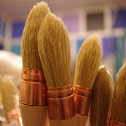 Small Round Paint Brush Natural White Silk