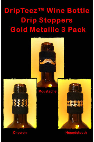 Wine band accessory three pack gold metallic drip stoppers