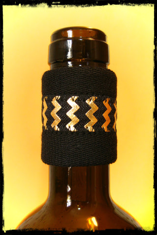 Wine Bottle Band Drip Catcher with Gold Metallic Chevron