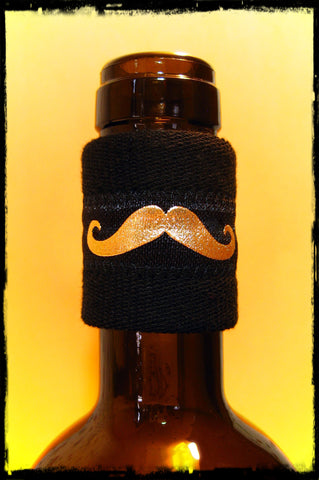 Wine Bottle Band Drip Stopper with Gold Metallic Moustache