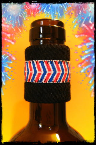 Wine band drip stopper with red white and blue chevron