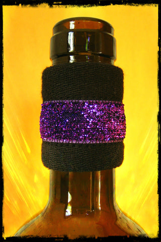 Wine band bottle accessory drip stopper with purple sparkle