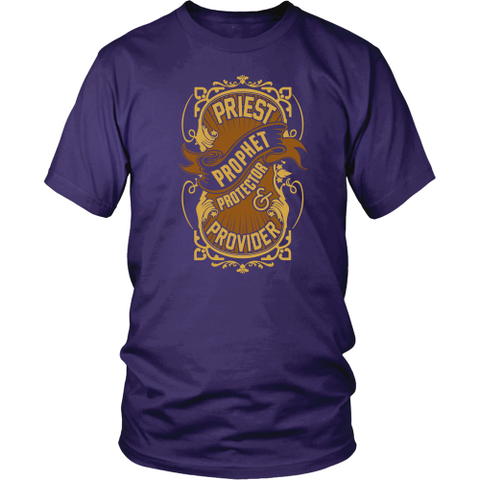 Priest, Prophet, Protector, Provider Christian T-Shirt (Multiple Colors)