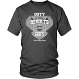 Duty is Mine; Results are God's Christian T-Shirt (Unisex) (Silver/White) (Multiple Colors) - Paraclete Tees  - 6