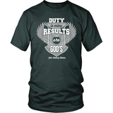 Duty is Mine; Results are God's Christian T-Shirt (Unisex) (Silver/White) (Multiple Colors) - Paraclete Tees  - 5