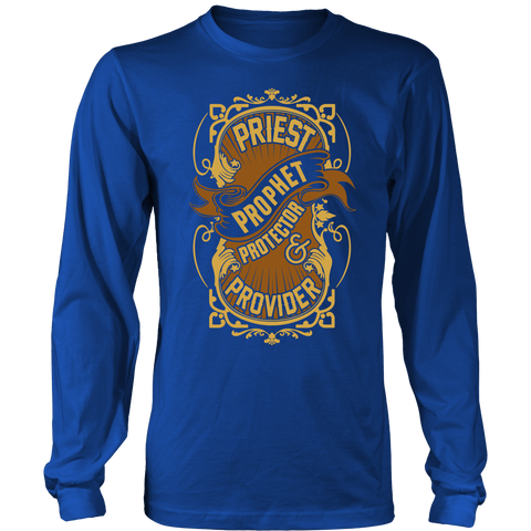 Priest, Prophet, Protector, Provider Christian Long Sleeve T-Shirt (Multiple Colors)