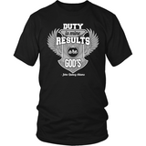 Duty is Mine; Results are God's Christian T-Shirt (Unisex) (Silver/White) (Multiple Colors) - Paraclete Tees  - 7