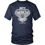Duty is Mine; Results are God's Christian T-Shirt (Unisex) (Silver/White) (Multiple Colors) - Paraclete Tees  - 4