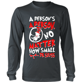 A Person's A Person, No Matter How Small Pro Life Long Sleeve T-Shirt (Red/White Letters) (Multiple Colors) - Paraclete Tees  - 3