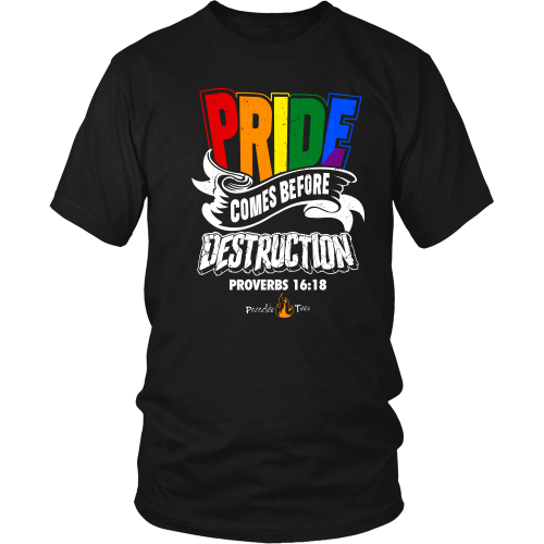 Pride Comes Before Destruction Christian T-Shirt (Mens/Unisex) (Multiple Colors) - Paraclete Tees  - 1